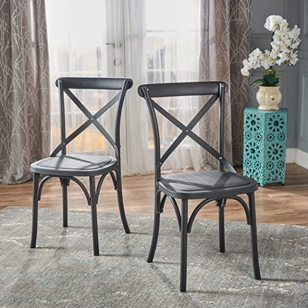 GDFStudio 301936 Shiff Farmhouse Plastic Nylon Dining Chairs Set Of 2 Classic Black
