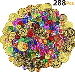 HEHALI 288pcs Pirate Toys Gold Coins and Pirate Gems Jewelery Playset, Treasure for Pirate Party (144 Coins+144 Gems)