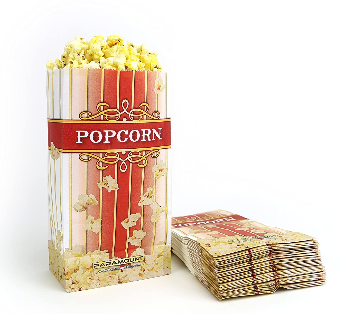 100 Popcorn Serving Bags - 'Large' Standalone Flat Bottom Paper Bag Style