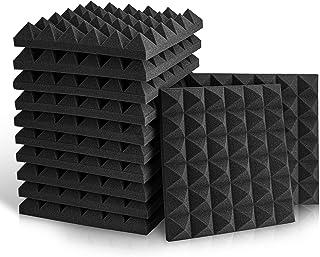 "Fstop Labs 12 Pack Set Acoustic Foam Panels, Studio Wedge Tiles, 2"" X 12"" X 12"" Acoustic Foam Sound Absorption Pyramid Stu..."