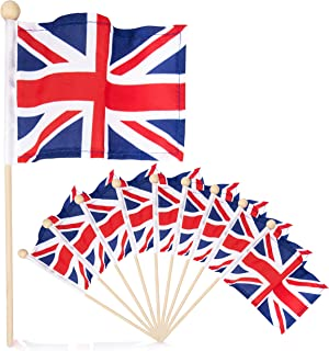 Tinisas World Premium 4x6 Inch Mini UK British Union Jack English Hand Held Flag Mini Flag Stick Flag with Safety Ball Top 10 Pack