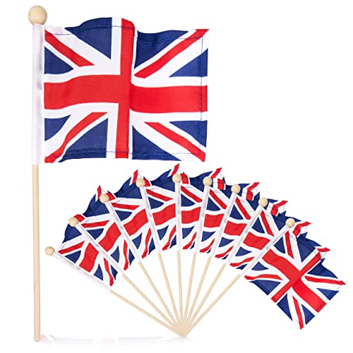 21dd4489fd50 Premium 4x6 Inch UK British Union Jack English hand held flag with safety  ball top 10