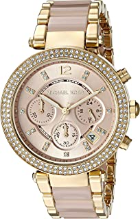 ad94c877c96b Michael Kors Womens Parker Blush Acetate and Goldtone Chronograph Watch