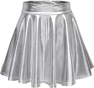 Women's Shiny Flared Pleated Mini Skater Skirt