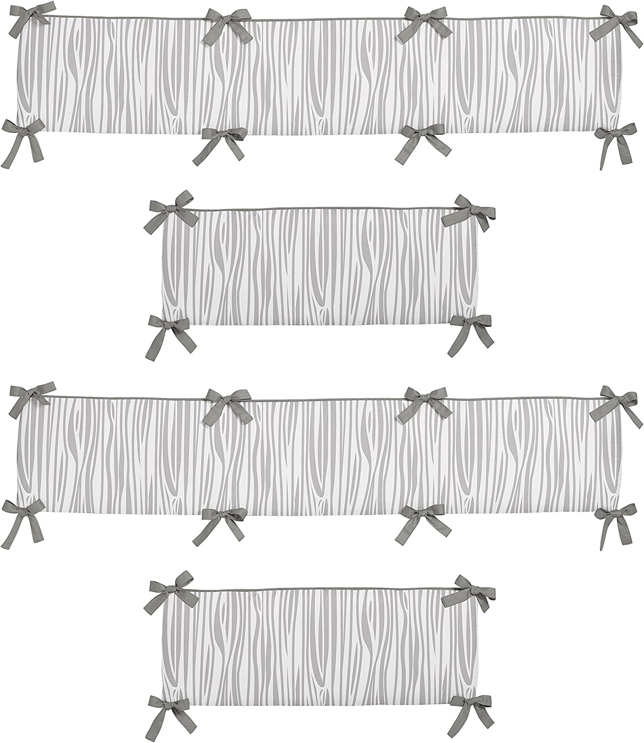 Sweet Jojo Designs Grey and White Wood Grain Baby Crib Bumper Pad for Woodsy Collection by