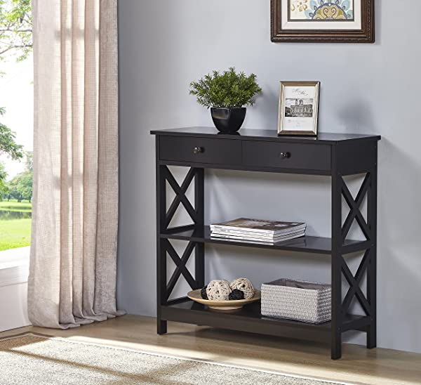 Black Finish 3 Tier Console Sofa Entry Table With Shelf Two Drawers