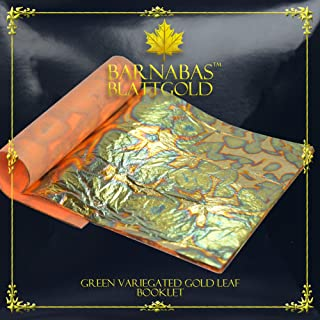 Variegated Gold Leaf Sheets - by Barnabas Blattgold - Color - Green - 25 Sheets - 5.5 inches Booklet