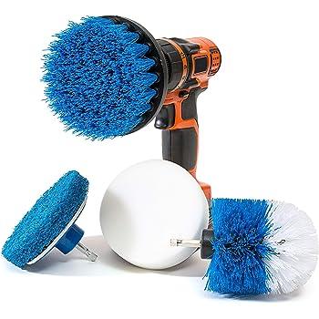RevoClean - Juego de 4 cepillos de Limpieza para Taladro eléctrico Multiusos, Perfecto para Limpiar lechada, Azulejos, mostrador, Ducha, Parrilla, Piso, Cocina, Azul y Blanco