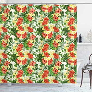 Ambesonne Tropical Shower Curtain, Exotic Pattern with Plumeria Hibiscus Monstera Palm Flowers and Leaves, Cloth Fabric Bathroom Decor Set with Hooks, 70