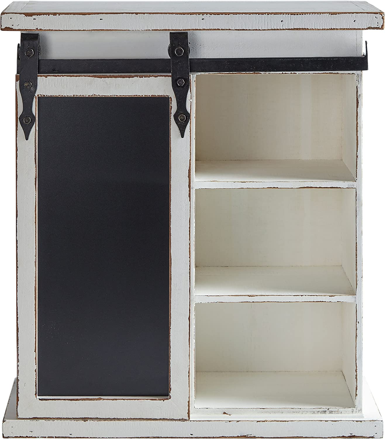 Stone & Beam Vintage Wood Cabinet with Chalkboard, 23.8 H, Antique White