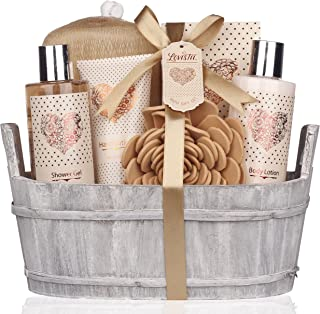 Spa Gift Basket – Bath and Body Set with Vanilla Fragrance by Lovestee - Bath Gift Basket Includes Shower Gel, Body Lotion, Hand Lotion, Bath Salt, Eva Sponge and a Bath Puff