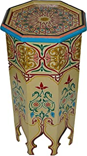 Moroccan Wood Side End Table Corner Coffee Handmade Hand Painted Moorish Beige