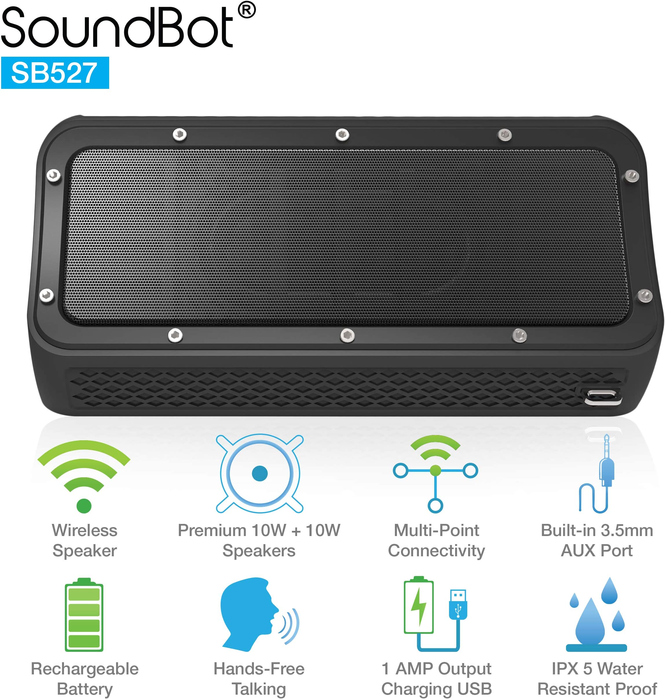 SoundBot SB527 Bluetooth 4.2 Wireless 20W Speaker Water & Shock Resistant for 12Hrs Music Streaming, HandsFree Calling