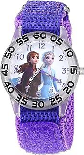 ساعة يد للبنات من ديزني فروزن 2 انالوج بعقارب مع سوار من النايلون، لون أرجواني، 16 موديل WDS000790