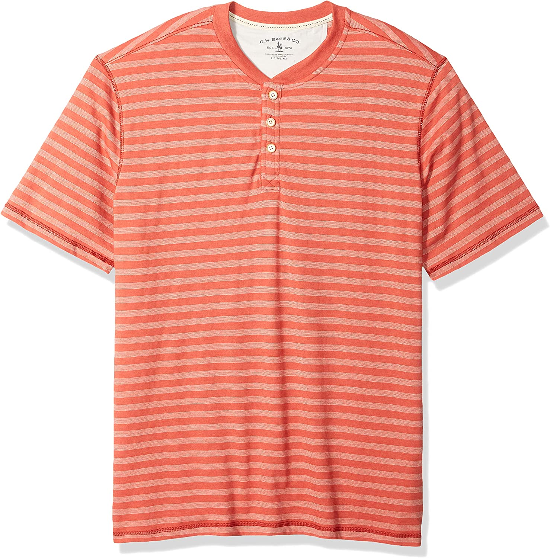 G.H. Bass & Co. Men's Big and Tall Madawaska Short Sleeve Feeder Stripe Henley Shirt