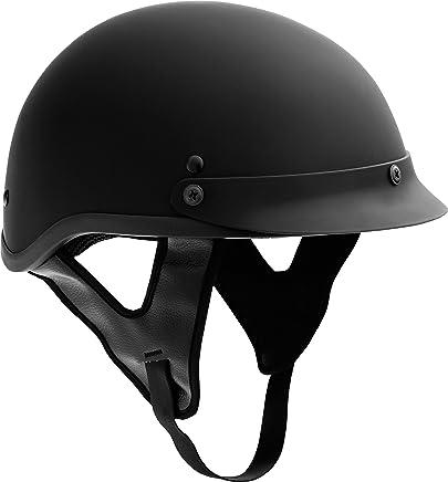 Fuel Helmets Cascos de la Mitad Combustible, Motorcross-Motocicletas, Negro Liso, Pequeño