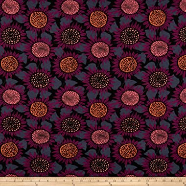 Cotton + Steel Front Yard Jersey Knit Sunflowers Fabric, Purple, Fabric By The Yard