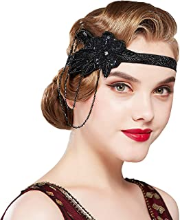 BABEYOND 1920s Flapper Headband Crystal Great Gatsby Headpiece Vintage 20s Flapper Gatsby Accessories (Style-3-Black)