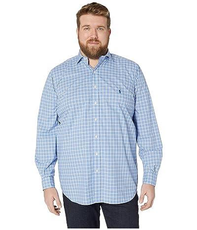 Polo Ralph Lauren Big & Tall Big Tall Long Sleeve Stretch Poplin (Dress Shirt Blue/White Multi) Men