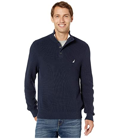 Nautica Button Mock Neck Sweater (Navy) Men
