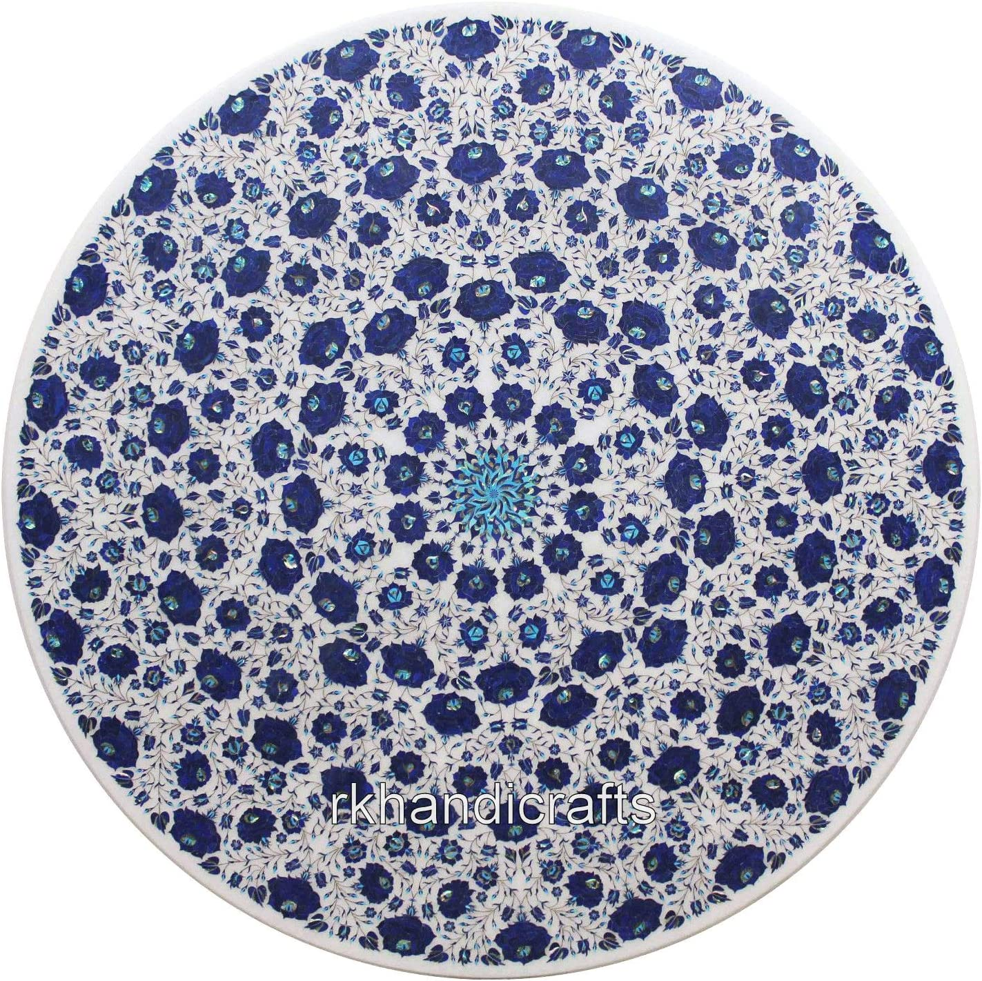 60 x Inches Round Sacramento Mall 5% OFF Marble Reception Inlay Top Coffee Table Tab