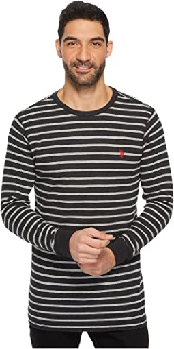 Long Sleeve Striped Crew Neck Thermal Pullover