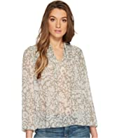 Lucky Brand Beaded Floral Peasant Top