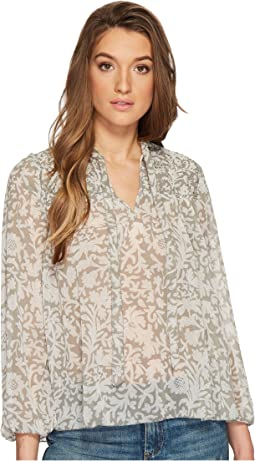 Lucky Brand - Beaded Floral Peasant Top