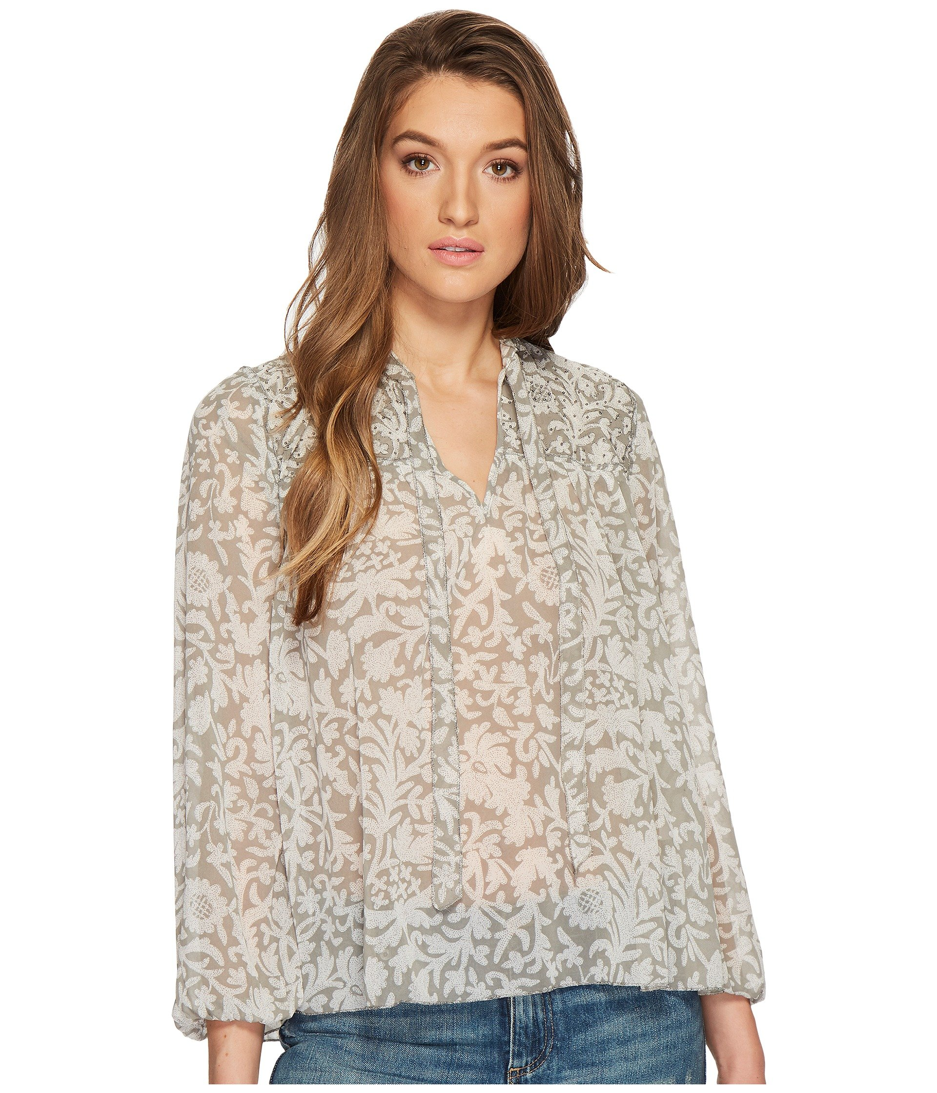 BEADED FLORAL PEASANT TOP