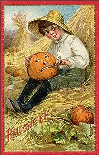 Pumpkin Carving Little Boy Carving his Jack O Lantern Vintage Halloween Pumpkin Metal Tin Sign 8X12 Inch