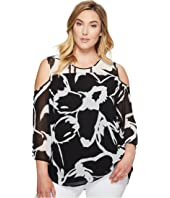 Vince Camuto Specialty Size - Plus Size Three-Quarter Sleeve Cut Out Floral Cold Shoulder Blouse