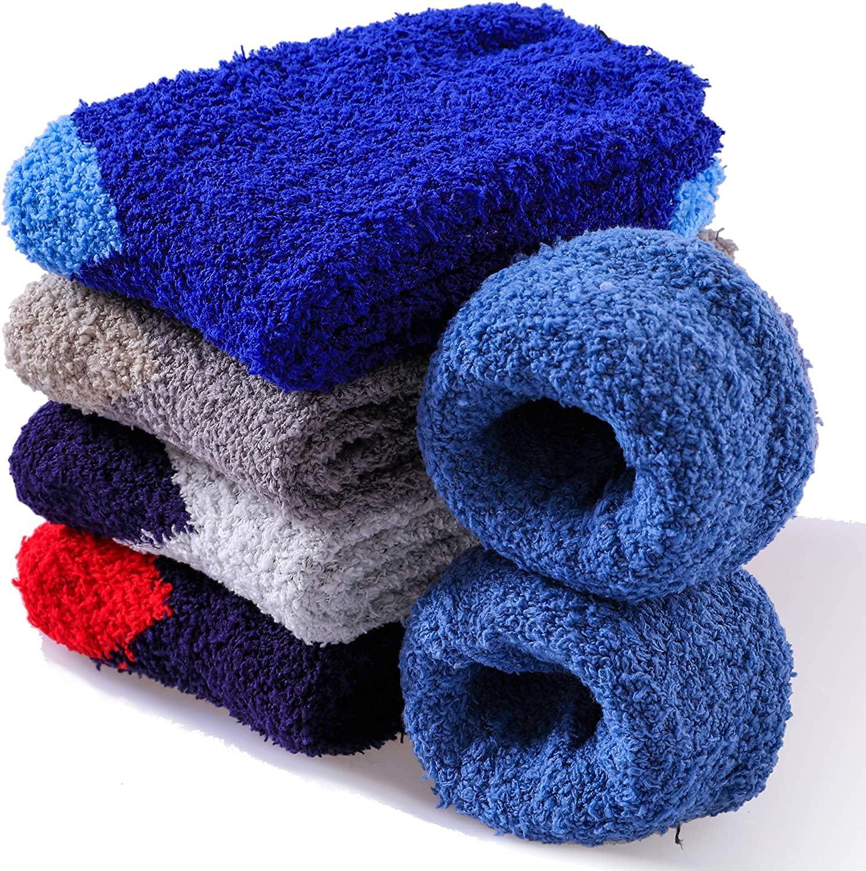 FNOVCO Mens Plush Slipper Socks Cozy Soft Warm Fuzzy Winter Indoor Crew Socks 5 to 6 Pairs