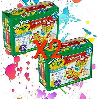 Crayola 可洗手指颜料易挤压瓶家庭乐趣 适合所有年龄 2 件套(12 瓶 3 盎司每瓶 2 瓶)