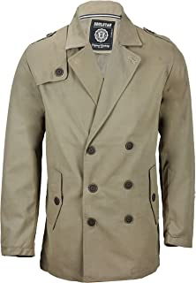 Mens Double Breasted Formal Overcoat Jacket Smart Casual Short Peacoat in Black Tan