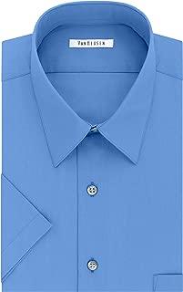 Men's Short Sleeve Dress Shirt Regular Fit Poplin Solid