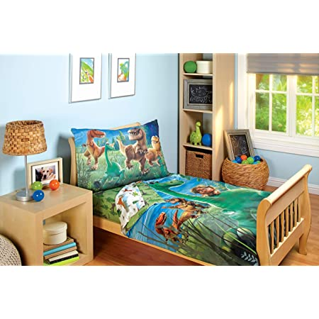Disney Good Dino Arlo & Friends 4 Piece Toddler Bed Set, Blue, Green, Tan