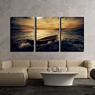 wall26 - 3 Piece Canvas Wall Art - Boat Drifting Away from Past in Middle of Ocean - Modern Home Decor Stretched and Framed Ready to Hang - 24