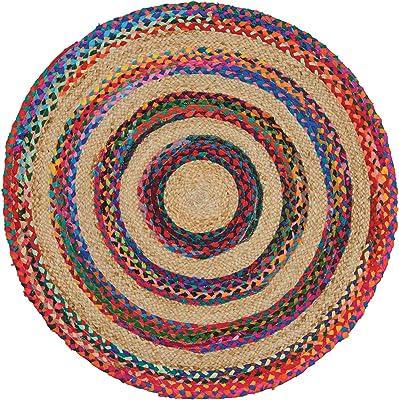 LOLAhome Alfombra ex/ótica Redonda Trenzada Multicolor de Yute de /ø 120 cm