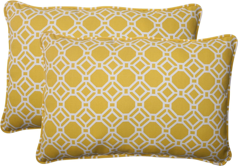 Pillow Perfect Indoor Outdoor Rossmere Corded Oversized Rectangular Throw Pillow, Yellow, Set of 2