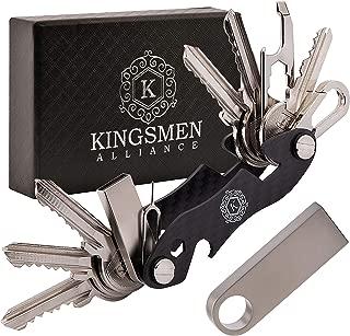 KINGSMEN Smart Compact Key Holder Organizer-Pocket Carbon Fiber Keychain, Stainless Steel Accessories, Light, Strong & Durable, Max 25 Keys, With 16GB USB, Bottle Opener, Metal Hook, Loop Ring (Black)