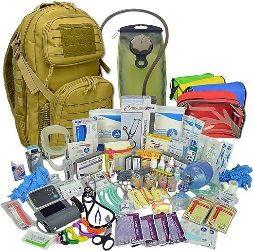 Lightning X Stocked Tactical EMT Trauma First Responder Medical Kit Backpack Desert Tan Hydration Bladder