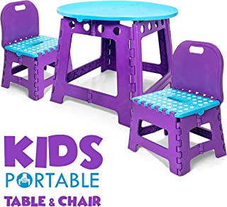 Vidasway Kids Table and Chair Set - 3 Pcs Folding. Use Indoors and Outdoors. Safe and Sturdy - Holds Up to 220 Pounds - Comes in a Convenient Carrying Bag - Gender Neutral - Turquoise and Purple