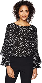 Amazon Brand - Lark & Ro Women's Long Sleeve Ruffle Fluted Blouse