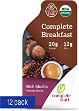 Complete Start Breakfast Meal Replacement Shake | Morning Coffee-Flavored Drink for Weight Loss | Organic, No Gluten, Non-Dairy, Vegan Protein Powder | Low Calorie Diet Formula Supplement | Rich Mocha