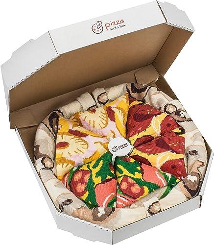Rainbow Socks - Man Woman Pizza Socks Box Mix Italian Hawaii Pepperoni - 4 Pairs