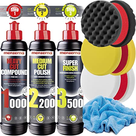 Detailmate Auto Politur Set Menzerna Autopolitur 250ml Super Heavy Cut Compund Hc1000 Medium Cut 2200 Super Finish Sf3500 3 Menzerna Polierpads 150mm Flauschiges Mikrofaser Poliertuch Auto