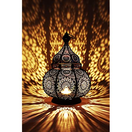 Petite Lanterne marocaine en métal Ziva 30cm noir   Photophore marocain pour l'extérieur au jardin ou l'intérieur sur la table   Lanternes pour bougie   décoration de maison orientale