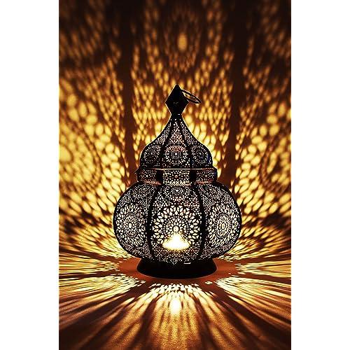 Petite Lanterne marocaine en métal Ziva 30cm noir | Photophore marocain pour l'extérieur au jardin ou l'intérieur sur la table | Lanternes pour bougie | décoration de maison orientale