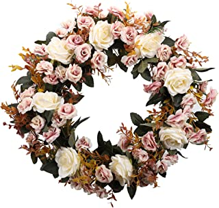 Duovlo Rose Floral Twig Wreath 19 Inch Handmade Artificial Flowers Garland Front Door Wreath (Champagne)
