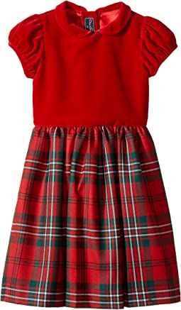 Oscar de la Renta Childrenswear - Holiday Plaid Wool Gathered Sleeve Dress (Toddler/Little Kids/Big Kids)